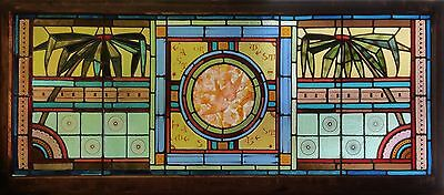 Aesthetic Antique American Stained and Painted Glass Transom