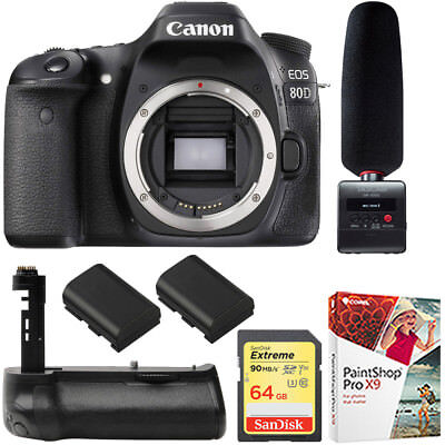 Canon EOS 80D CMOS DSLR Camera (Body) + Tascam Audio Recorder & Mic Bundle