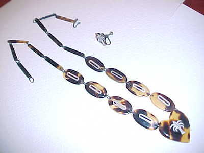 WWII Shell Necklace and one Earring with Silver Inlay from the Phillippines