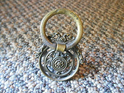 Old Vintage 4471 Cabinet Door Knocker Ring Drawer Pull Knob Ornate Bow Patriotic