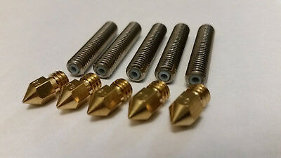 ** USA STOCK ** 5-PK - 0.4mm Nozzle & 1.75 Teflon Tube - Fits Mk8 Anet a6 and a8