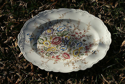 Old Vintage Crown Ducal Ware Wilmslow England Hand Coloured Oval Platter Flowers
