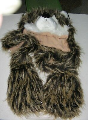 Wolf Animal Winter Hat And Long Arms With Glove End