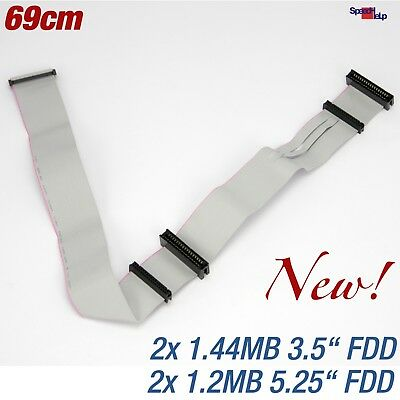 "New 1.44Mb 1.2Mb Fdd Floppy Cable 3.5"" 5.25"" Discs Drive 69Cm"