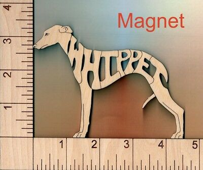 Wippet Dog laser cut wood Magnet or Ornament
