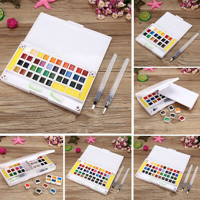 12/18/24/30/36/40/48 Colors Solid Watercolor Pigment Set With Water Brush Sponge
