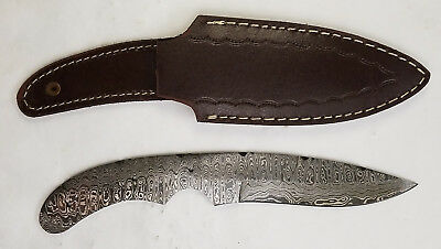 "9"" Damascus Drop Point blade Knife making blank w/ leather sheath - Payne Bros"