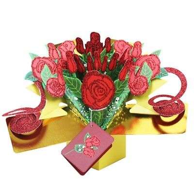 US Floral Bouquet 3D Pop Up Cards Valentine Days Anniversary Love Cards Gifts