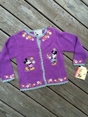Vintage Disney Sweater Hand Knit Girls Minnie Mickey Mouse & Co Purple 6 6X NWT