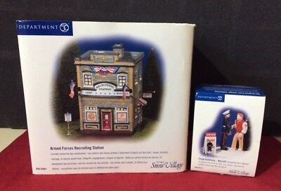 "DEPT 56 Snow Village ""Armed Forces Recruiting Station"" & ""Congrats Recruit"""