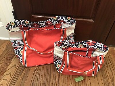 BNWT Vera bradley Large And Small Colorblock Tote In Sun Valley
