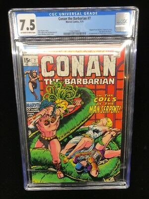 Conan The Barbarian #7 Cgc 7.5 Bronze Age Marvel 1971 Barry Smith