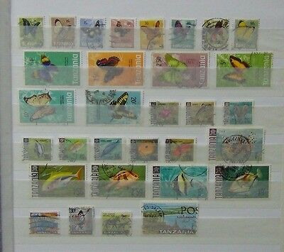 Tanzania 1967 Fish values to 10s 1973 Butterflies values to 20s Used