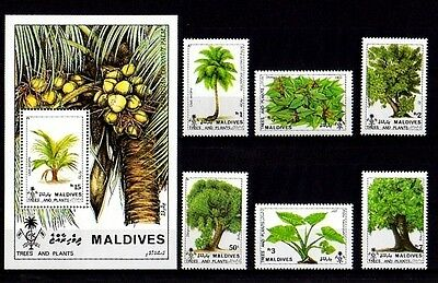 Maldives - 1987 - Trees & Plants - Indigenous - 6 X Mint Set + S/sheet!