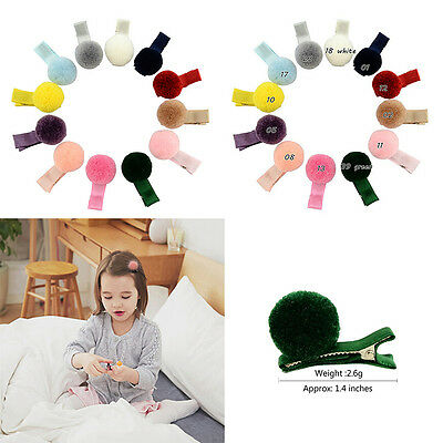 10pcs  Infant Baby Girls Soft Fur Ball Hair Clip Hairpin Lovely Barrettes 3C