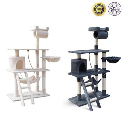 Cat Grooming Scratching Tree Post Gym House Climbing Bed Tower Ladder Pouch AU