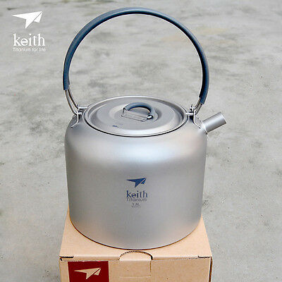 Keith 1.5L Titanium Water Kettle Camp Picnic Cooking Cookware Coffee Pot Teapot