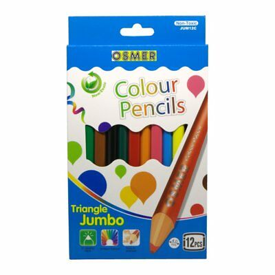 Osmer Box of 12 Jumbo Triangular Triangle Colour Wooden Wood Pencils 4 Learners