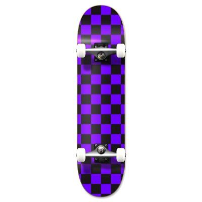 Yocaher Graphic Complete Skateboard - Checker Purple