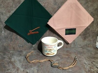 1974 Wood Badge at Boulder Creek Scout Reservation Mug, 2 Neckerchiefs, Bolo Tie