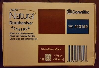 Box of 10 ConvaTec 413159 Sur-Fit Natura Durahesive Skin Barrier w/ Flange 1 1/4