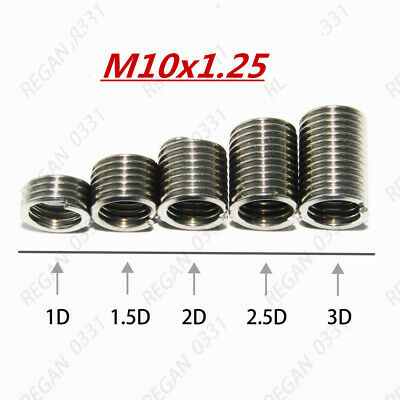 M10-1.25 Metric Fine Stainless Steel Helicoil Free Running Wire Threaded Inserts