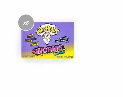 908717 12 x 113g THEATRE BOXES OF WARHEADS WORMS CANDY SOUR CHEWY SWEET & FRUITY