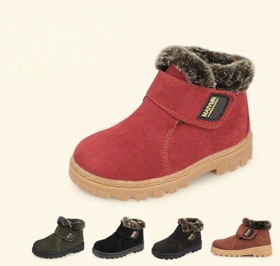 Girls Boys Winter Boots Kids Children Snow Boots Cotton Leather Warm Shoes Size