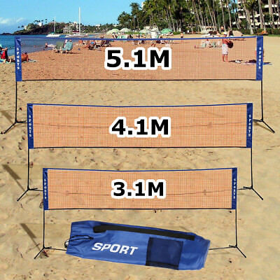 Sports 3/4/5M Badminton Net Beach Volleyball Tennis Training Carry Bag Included