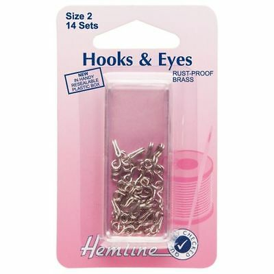 Hemline Hooks & Eyes (Nickel) - Size 2