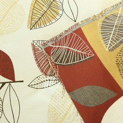Gold Brown Red Primitive Leaf Upholstery Fabric By The Yard 54 W