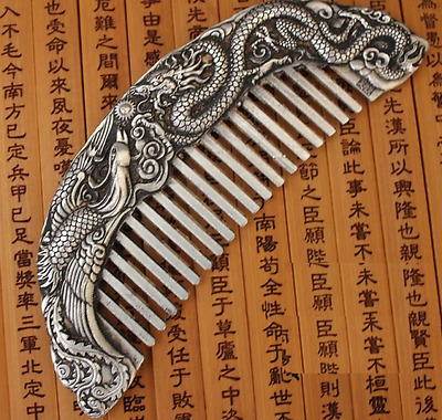 Old China Handwork Miao Silver Carve Dragon Phoenix Belle Use Rare Comb