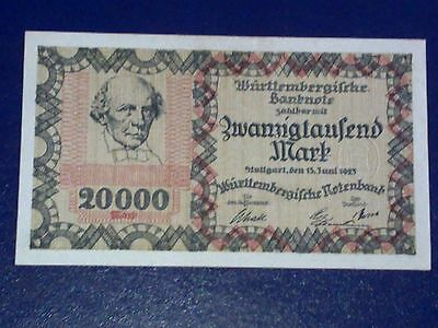 Germany - 20 000 Mark  Banknote 1923- Stutgart-Inflation - Extremely Fine