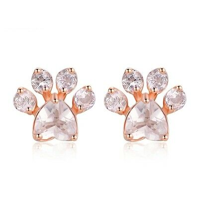 💞 Rose Gold Animal Paw Dog Cat Bear Earrings Real 925 Sterling Silver Mum Wife