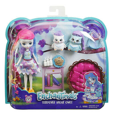 Enchantimals Doll and Animal Theme Set - Sleepover Night Owls
