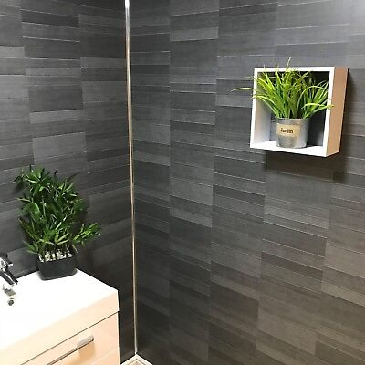Carbon Modern Tile Effect Bathroom Wall Panels Kitchen Cladding Shower Wall PVC