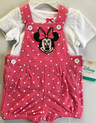 Disney Baby Girl's Minnie Mouse Infant 2 piece Shortalls Outfit Size 3-6m
