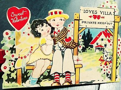 Vintage Valentine's Day Card Sweet Valentine Love Shack Couple Moveable Heads