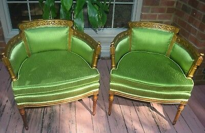 Pair of Vintage French Art Deco Hollywood Regency Barrel Arm Bergeres / Chairs /