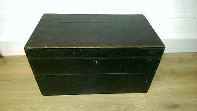 ANTIQUE VICTORIAN Wooden TRUNK Chest STORAGE TOY BOX Coffee Table Metal Handles