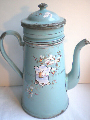 Old French coffee pot enameled sheet metal: Flowers + Painting with Boat on lake