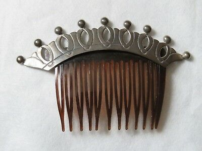 Vintage Sterling Silver Hair Comb - Long comb