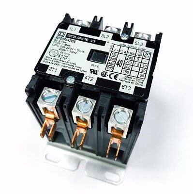 Square D 8910DPA43V09 Definite Purpose Contactor, 40FLA 50A Res, 3-Pole, Open