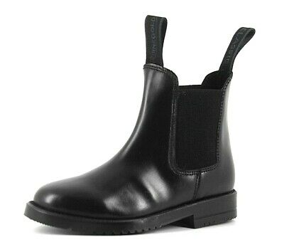 Rhinegold Younger Girls Childrens UK 12 & 13 Black Leather Classic Jodhpur Boots