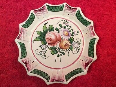 Antique French Faience Hand Painted Flower Bouquet Butter Pat c1800's, ff377