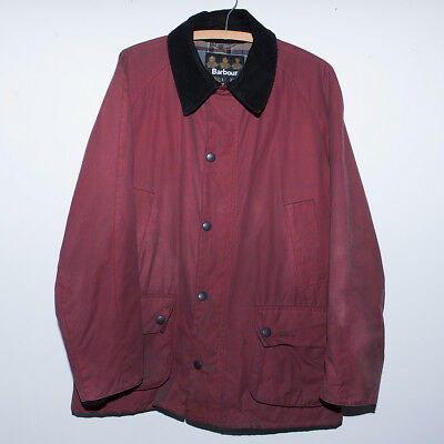Mens Barbour Waxed Cotton Jacket Red Size L Snap Plaid Made in England USED