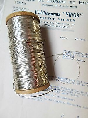 4 yd Vintage Antique French Silver Oval Tinsels Metallic Thread Trim Flyty 1/16""