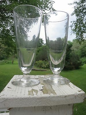 Rare Pair Antique Hand-Blown Absinthe Glasses, Etched Dose Marks, One Minor Chip
