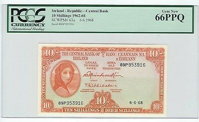 10 Shilling 1962-68 Ireland-Republic- Central Bank  PCGS GEM NEW UNCIRCULATED 66
