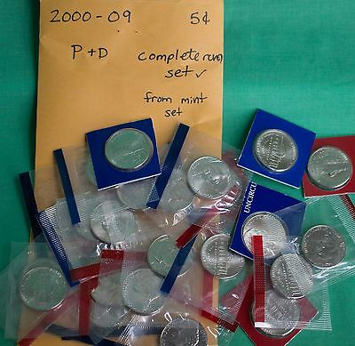 2000 thru 2009 BU Jefferson Five Cent Lot P and D Nickels 24 Coins US Mint Sets